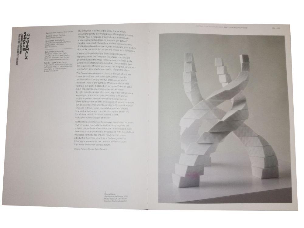 Lo spazio dedicato a Padiglione Guatemala nel Catalogo Internazionale della 16. Biennale di Venezia